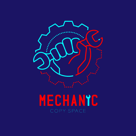 Mechanic logo icon, hand hold wrench in gear frame outline stroke set dash line design illustration isolated on dark blue background with Mechanic text and copy space Logo