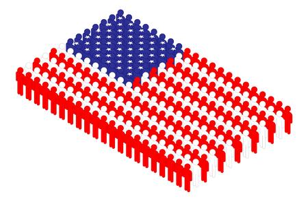 Isometric man icon pictogram in row, United States national flag shape concept design illustration isolated on white background, Editable stroke 矢量图像