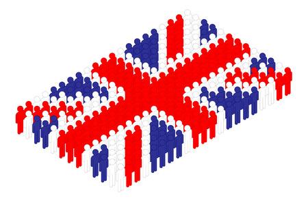 Isometric man icon pictogram in row, United Kingdom national flag shape concept design illustration isolated on white background, Editable stroke