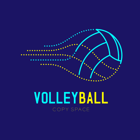 Volleyball icon outline stroke set dash line design illustration isolated on dark blue background with Volleyball text and copy space, vector eps 10 Illustration