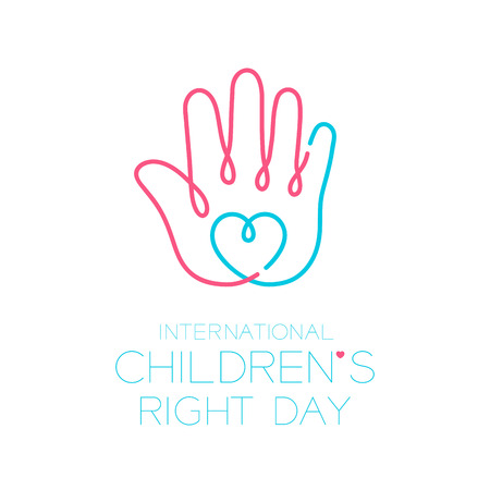 International Children's Right Day logo icon outline stroke set, hand and heart design illustration isolated on white background with copy space, vector