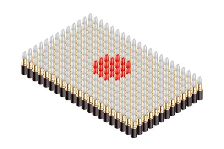 3D Isometric lipstick, Japan national flag shape concept design illustration isolated on white background Illustration