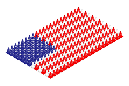 Isometric equipment traffic cone in row, United States national flag shape concept design illustration isolated on white background, Editable stroke  イラスト・ベクター素材