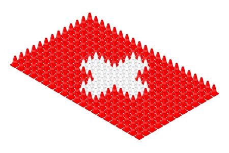 Isometric equipment traffic cone in row, Switzerland national flag shape concept design illustration isolated on white background, Editable stroke