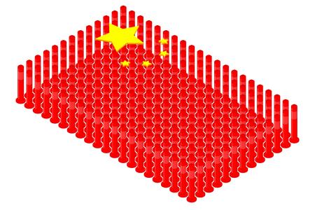 Isometric pole traffic safety equipment in row, China national flag shape concept design illustration isolated on white background, Editable stroke Ilustração