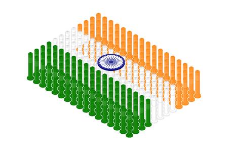 Isometric pole traffic safety equipment in row, India national flag shape concept design illustration isolated on white background, Editable stroke Ilustração