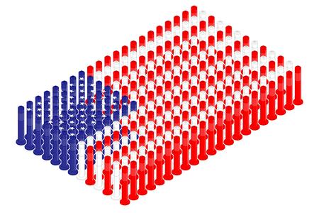 Isometric pole traffic safety equipment in row, United States national flag shape concept design illustration isolated on white background, Editable stroke
