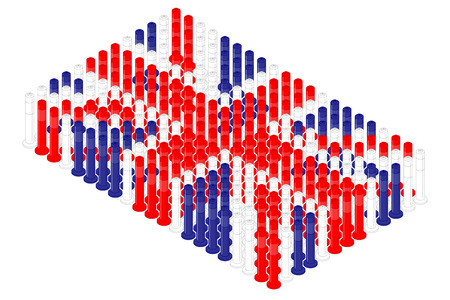 Isometric pole traffic safety equipment in row, United Kingdom national flag shape concept design illustration isolated on white background, Editable stroke