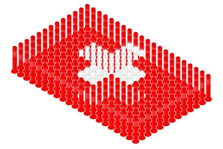 Isometric pole traffic safety equipment in row, Switzerland national flag shape concept design illustration isolated on white background, Editable stroke Ilustração