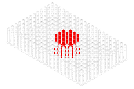 Isometric pole traffic safety equipment in row, Japan national flag shape concept design illustration isolated on white background, Editable stroke Ilustração
