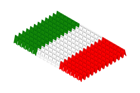 Isometric caution floor sign in row, Italy national flag shape concept design illustration isolated on white background, Editable stroke