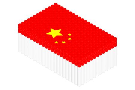 Isometric cigarette in row, China national flag shape concept design illustration isolated on white background, Editable stroke