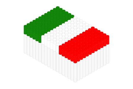 Isometric cigarette in row, Italy national flag shape concept design illustration isolated on white background, Editable stroke