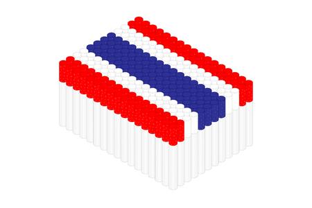 Isometric cigarette in row, Thailand national flag shape concept design illustration isolated on white background, Editable stroke Ilustração