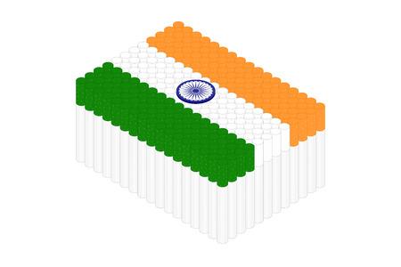 Isometric cigarette in row, India national flag shape concept design illustration isolated on white background, Editable stroke