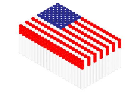 Isometric cigarette in row, United States national flag shape concept design illustration isolated on white background, Editable stroke