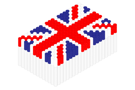Isometric cigarette in row, United Kingdom national flag shape concept design illustration isolated on white background, Editable stroke