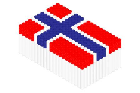 Isometric cigarette in row, Norway national flag shape concept design illustration isolated on white background, Editable stroke Ilustração