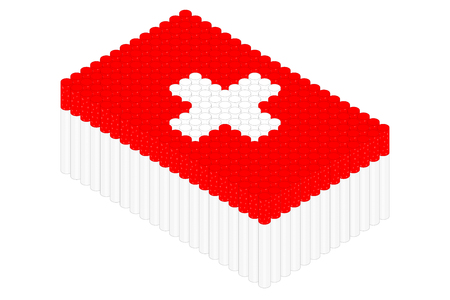 Isometric cigarette in row, Switzerland national flag shape concept design illustration isolated on white background, Editable stroke