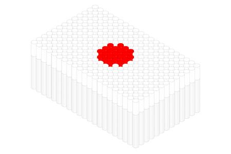 Isometric cigarette in row, Japan national flag shape concept design illustration isolated on white background, Editable stroke