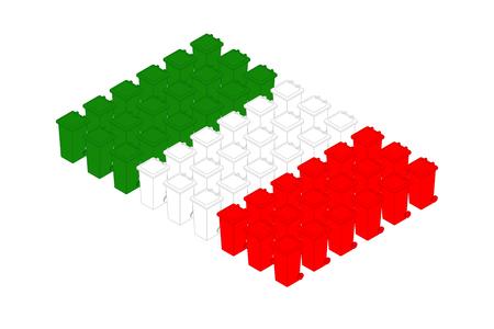Isometric trash in row, Italy national flag shape concept design illustration isolated on white background, Editable stroke Ilustração