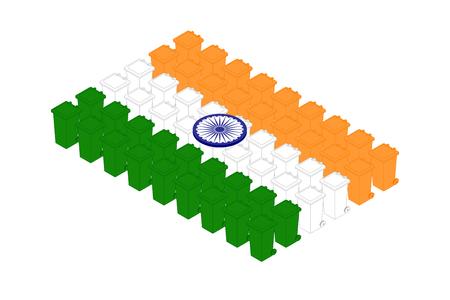 Isometric trash in row, India national flag shape concept design illustration isolated on white background, Editable stroke