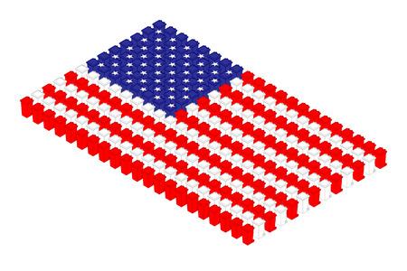 Isometric trash in row, United States national flag shape concept design illustration isolated on white background, Editable stroke