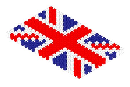 Isometric trash in row, United Kingdom national flag shape concept design illustration isolated on white background, Editable stroke