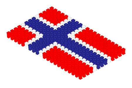 Isometric trash in row, Norway national flag shape concept design illustration isolated on white background, Editable stroke