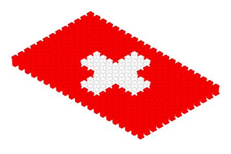 Isometric trash in row, Switzerland national flag shape concept design illustration isolated on white background, Editable stroke