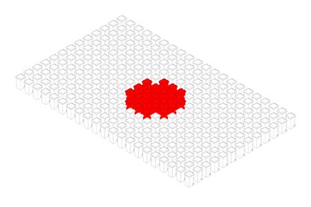 Isometric trash in row, Japan national flag shape concept design illustration isolated on white background, Editable stroke