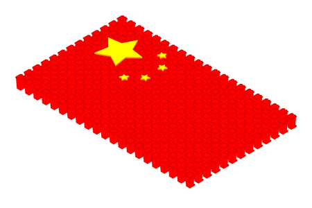 Isometric trash in row, China national flag shape concept design illustration isolated on white background, Editable stroke