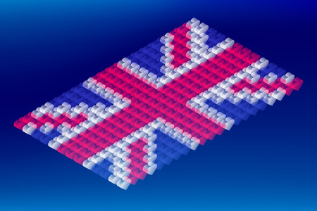 Isometric love heart box transparency, United Kingdom national flag shape, Blockchain cryptocurrency concept design illustration isolated on blue gradients background, Editable stroke Ilustração
