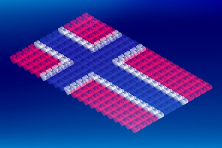 Isometric love heart box transparency, Norway national flag shape, Blockchain cryptocurrency concept design illustration isolated on blue gradients background, Editable stroke Ilustração