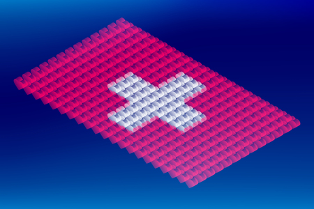 Isometric love heart box transparency, Switzerland national flag shape, Blockchain cryptocurrency concept design illustration isolated on blue gradients background, Editable stroke