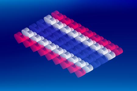Isometric love heart box transparency, Thailand national flag shape, Blockchain cryptocurrency concept design illustration isolated on blue gradients background, Editable stroke Ilustração