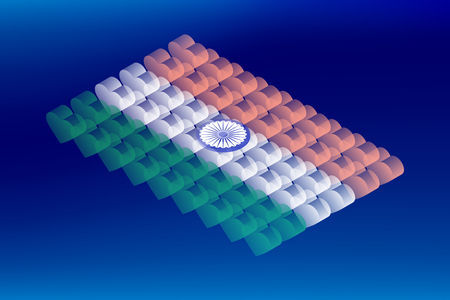 Isometric love heart box transparency, India national flag shape, Blockchain cryptocurrency concept design illustration isolated on blue gradients background, Editable stroke Ilustração