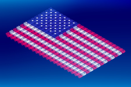 Isometric love heart box transparency, United States national flag shape, Blockchain cryptocurrency concept design illustration isolated on blue gradients background, Editable stroke
