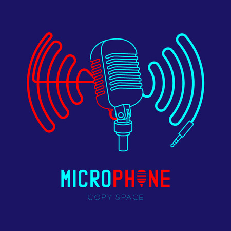 Retro Microphone logo icon outline stroke with wave frame from cable dash line design illustration isolated on dark blue background with Microphone text and copy space