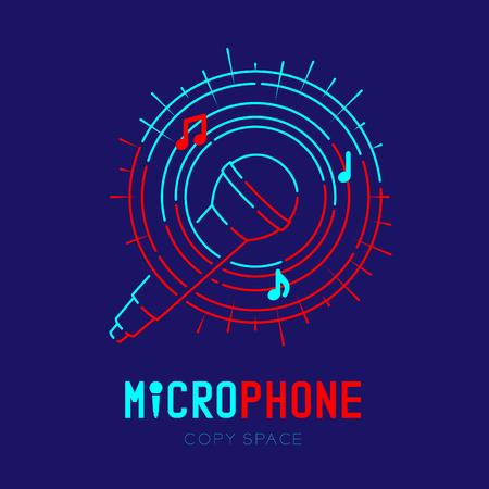 Coup de contour d'icône de logo de microphone avec la note de musique dans l'illustration de conception de ligne de tiret de cadre de cercle de personnel isolée sur le fond bleu-foncé avec le texte de microphone et l'espace de copie
