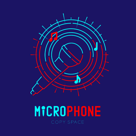 Microphone logo icon outline stroke with music note in staff circle frame dash line design illustration isolated on dark blue background with Microphone text and copy space