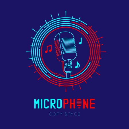 Retro Microphone logo icon outline stroke with music note in staff circle frame dash line design illustration isolated on dark blue background with Microphone text and copy space Çizim