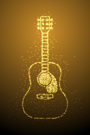 Abstract Shiny Bokeh star pattern Acoustic Guitar shape, music instrument concept design gold color illustration isolated on brown gradient background with copy space, vector eps 10