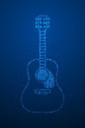 Abstract Geometric Bokeh circle dot pixel pattern Acoustic Guitar shape, music instrument concept design blue color illustration isolated on blue gradient background with copy space, vector