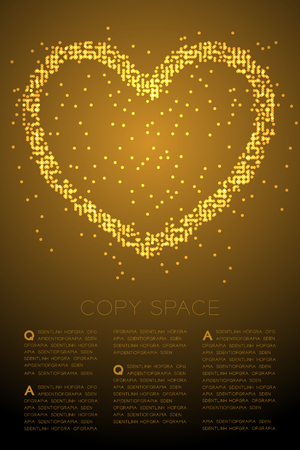 Heart icon Abstract Geometric Bokeh light circle dot pixel pattern, Valentine's day concept design gold color illustration isolated on gold gradient background with copy space, vector