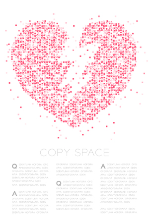 Breaking Heart icon Abstract Geometric Square box pixel pattern, Valentine's day concept design pink color illustration on white background with copy space, vector eps 10 Illustration