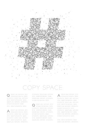Abstract Geometric Low polygon square box pixel and Triangle pattern Hashtag sign, social network connect concept design black color illustration on white background