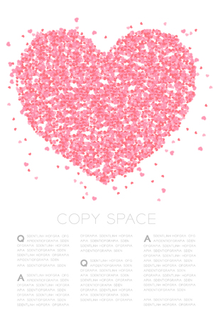 Heart icon made from Abstract mini heart pattern, Valentine's day concept design pink color illustration on white background