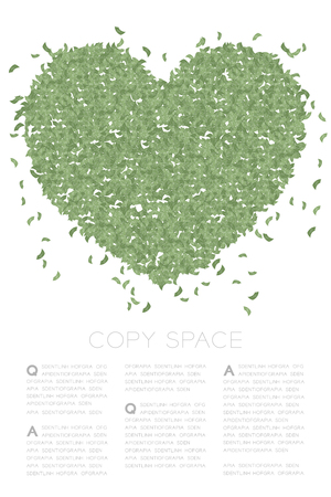 Heart icon made frome Abstract banknotes pattern, Valentine's day concept design green color illustration on white background with copy space, vector eps 10