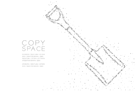 Abstract Geometric Low polygon square box pixel and Triangle pattern Shovel shape, Construction concept design black color illustration on white background Иллюстрация